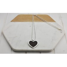 Silver Chain with Brown Leather Heart Necklace