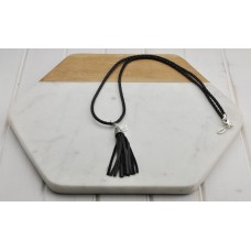 Black Cord with Leather Tassel Necklace