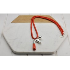 Coral Beads with Tassel Heart Necklace