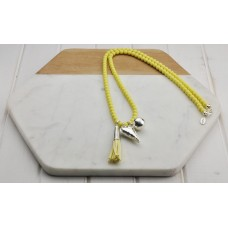 Yellow Beads with Tassel Heart Necklace