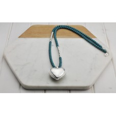 Blue and Silver Beads with Heart Necklace