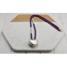 Purple and Silver Beads with Heart Necklace