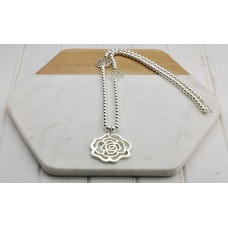 Silver Beads With Flower Pendant Necklace