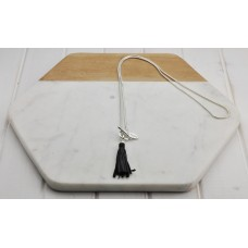 Silver Chain with Black Leather Tassel Necklace