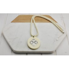 Cream Resin Pendant Necklace