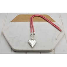 Pink Resin Beads with Silver Heart Necklace