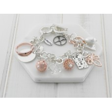 Silver, Rose Gold, Pearl and Crystal Charm Bracelet