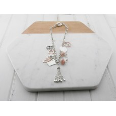 Silver, Rose Gold, Pearl and Crystal Charm Necklace
