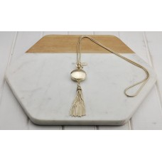 Gold Disc and Tassel Necklace