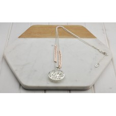 Silver and Rose Gold Mixed Web Disc Necklace