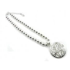 Short Silver Web Pendant Necklace