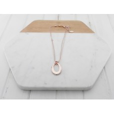Short Rose Gold  Oval Ring Necklace