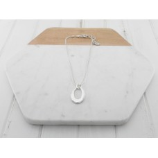 Short Silver Oval Ring Necklace