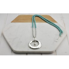 Turquoise Resin Beads with Silver Ring and Tear Drop Pendant Necklace