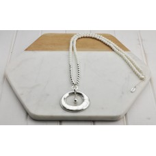 White Resin Beads with Silver Ring and Tear Drop Pendant Necklace