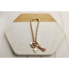 Short Rose Gold Cross with Tassel Necklace