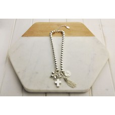 Short Silver Cross with Tassel Necklace