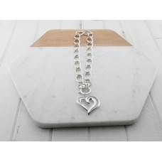 Silver Link Chain With Heart Necklace