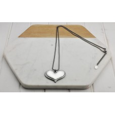 Hematite and Silver Heart Necklace