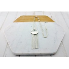 Silver Round Ring with Tassel Necklace