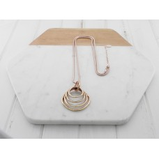 Rose Gold 4 Ring Long Necklace
