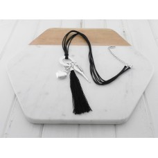 Black Tassel w Silver Charms on Black Leather Necklace