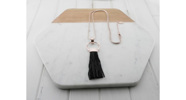 Rose Gold Black Leather Tassel Necklace
