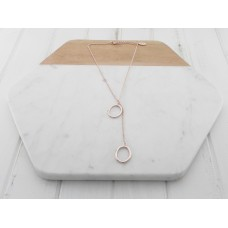 Rose Gold Short 2 Ring Necklace