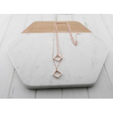 Rose Gold 2 Chain Square Pendant Necklace