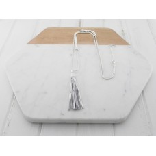 White Leather with Tassel Necklace
