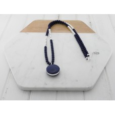 Navy Resin and Silver Bead Necklace