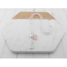 Silver /Rose Bead Tassel Necklace