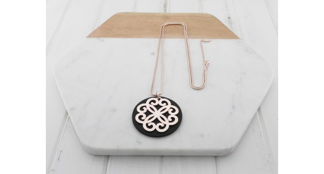 Black Leather w Rose Gold Pendant Necklace