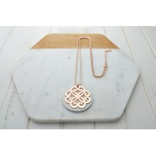 White Leather w Rose Gold Pendant Necklace