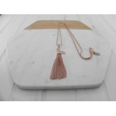 Rose Gold Clip On Tassel Necklace