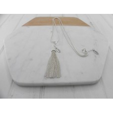 Silver Clip On Tassel Necklace