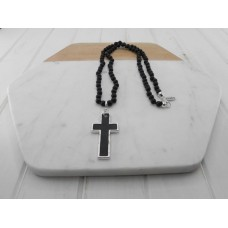 Black Bead with Black Cross Necklace