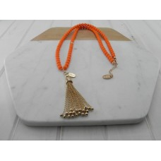 Orange Beads With Gold Tassel Necklace