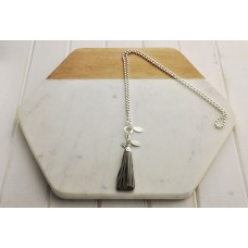Grey Leather Tassel Necklace