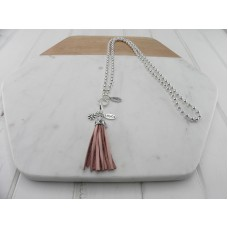 Pink Leather Tassel Necklace