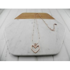 R/G Chain With Balls & Heart Necklace
