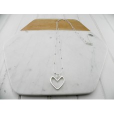 Silver Chain with Balls & Heart Necklace