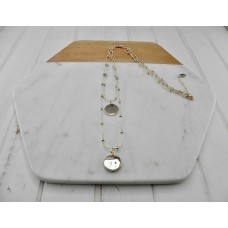 Gold Double Chain & Disc Necklace