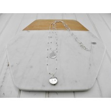 Silver Double Chain & Disc Necklace
