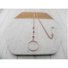 Rose Gold 3 Ball and Ring Necklace