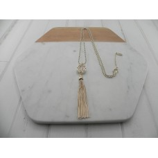 Gold Scroll with Tassel Necklace