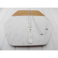 Silver Scroll With Tassel Necklace