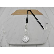 Black Beads with Silver Coin Necklace