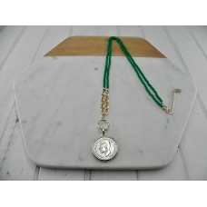 Green Beads with Gold Coin Necklace