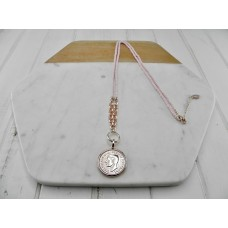 Pink Beads with Rose Gold Coin Necklace